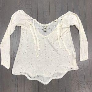 Indigo Rein Sheer Henley V Neck Pullover Sweater